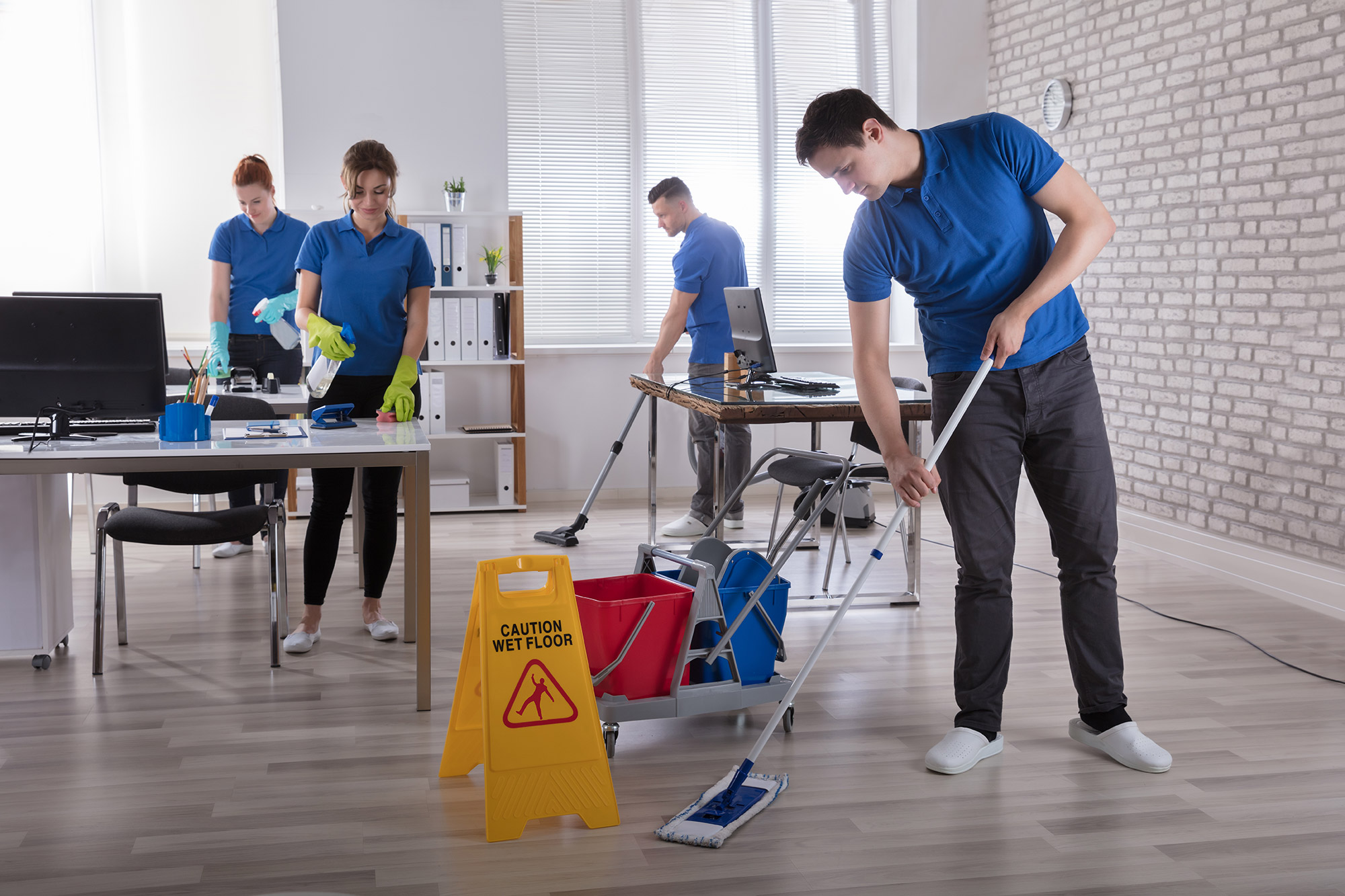 Janitors Cleaning