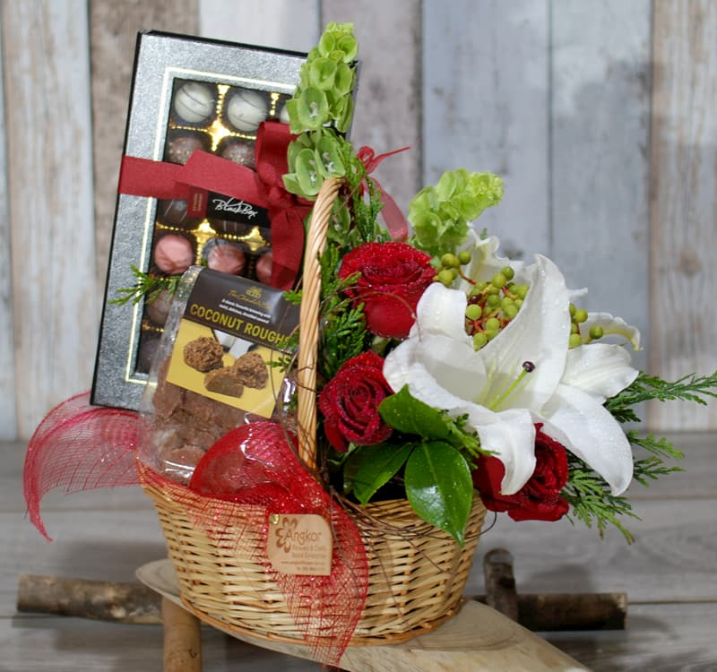 chocolate and flowers basket