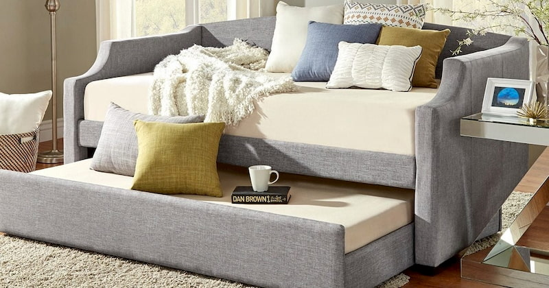 gray trundlebed for living room with white green and green pillows