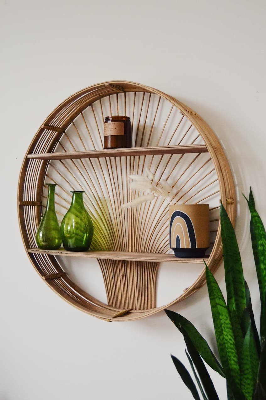 rattan shelf with decorative elements