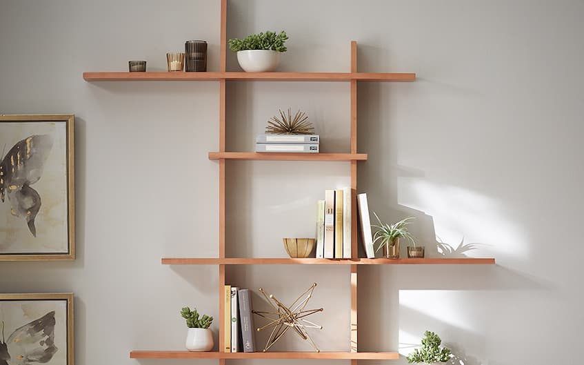 wall art with decorative wood shelves and accessories