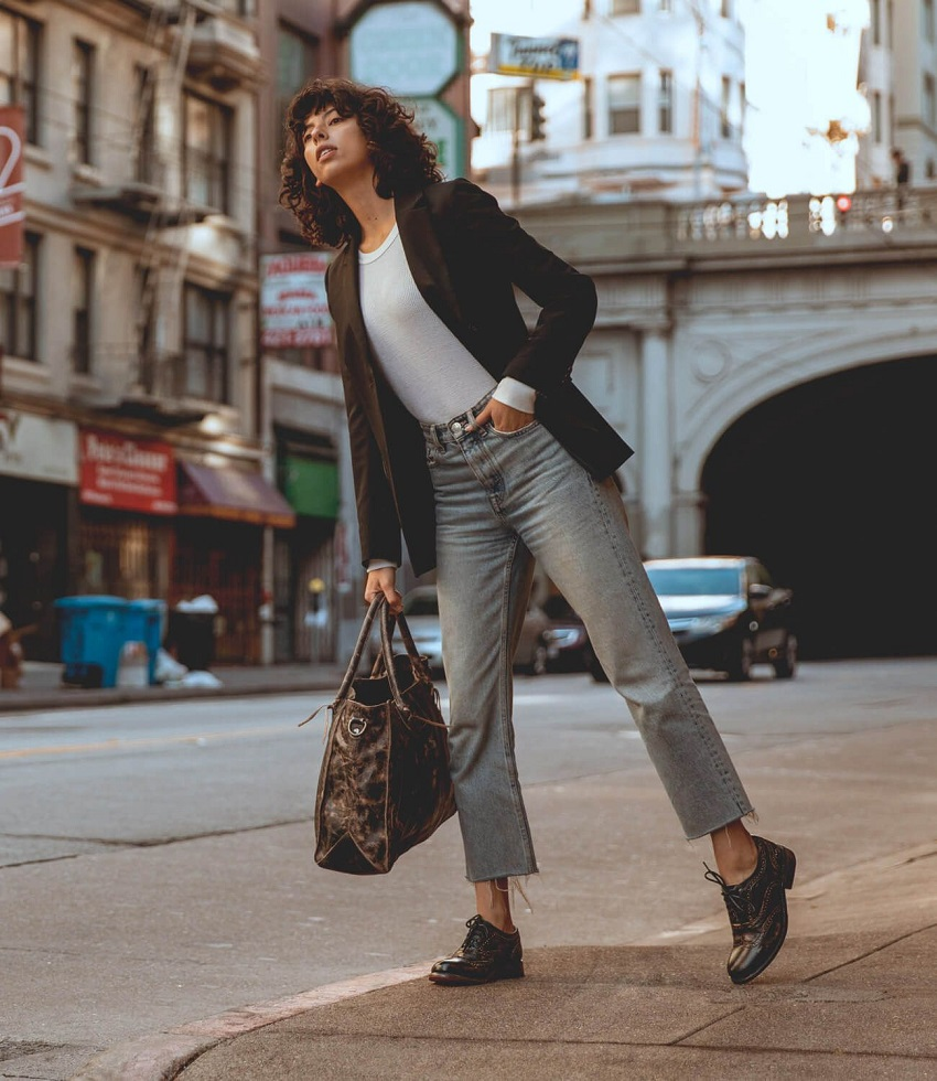 picture of a woman on the street wearing casual outfit and Derby shoes